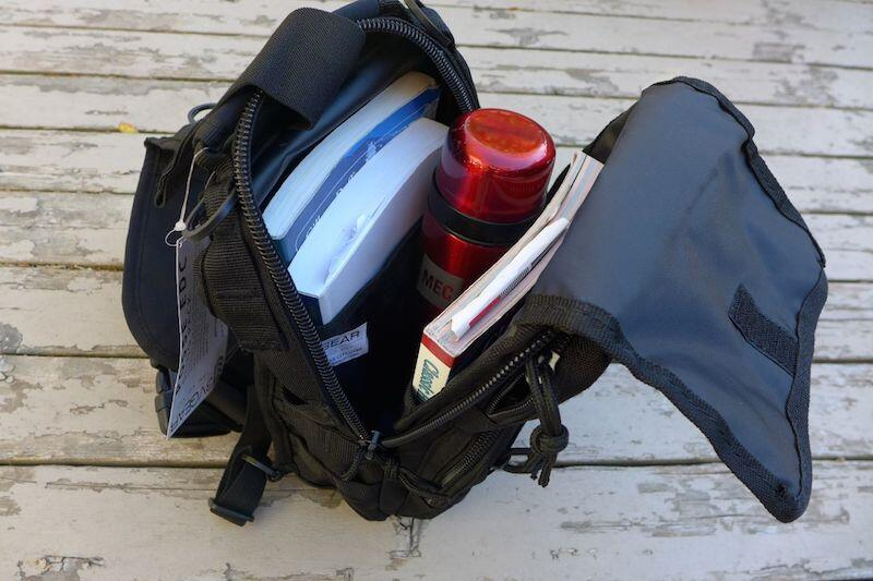 Three big guidebooks and thermos made it in, with room to spare for a sandwich.