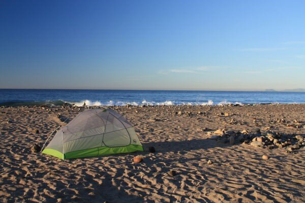 The Rattlesnake SL2 model pitched near the Pacific Ocean. This model is new for 2015.