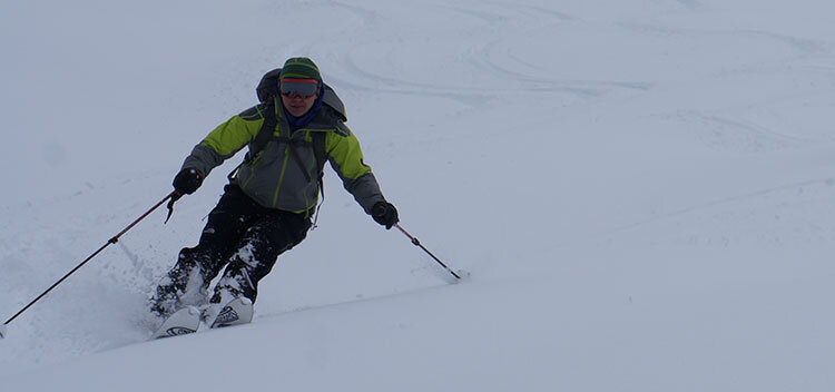 skiing in my mammut albaron jacket